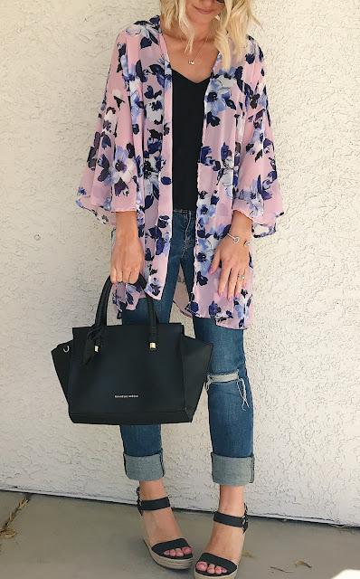 PinkBlush floral kimono for spring
