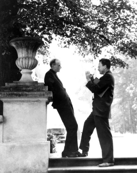 Paul Dirac and Richard Feynman in Poland discussing QED