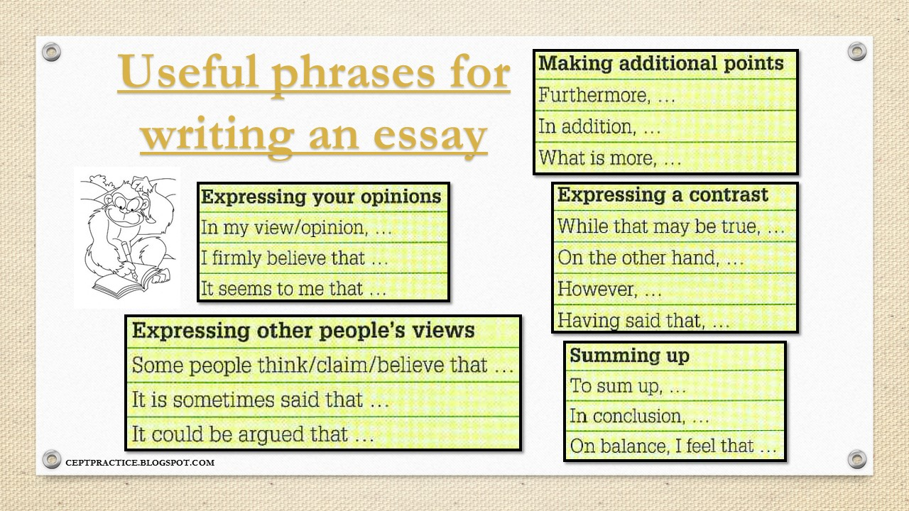CEPT Practice: Useful phrases for writing an essay, an email, a