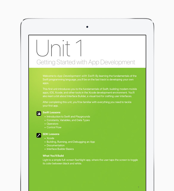 """The curriculum """"App Development with Swift"""" is now available for download for free today from Apple's iBooks Store."""