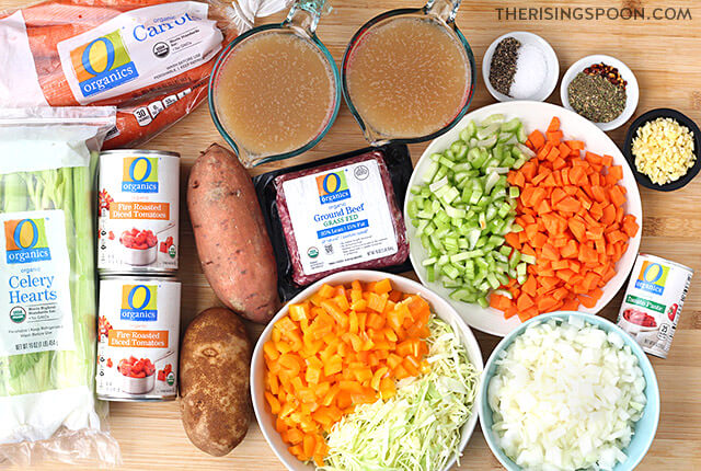 Ingredients For Making Hamburger (Ground Beef) Vegetable Soup