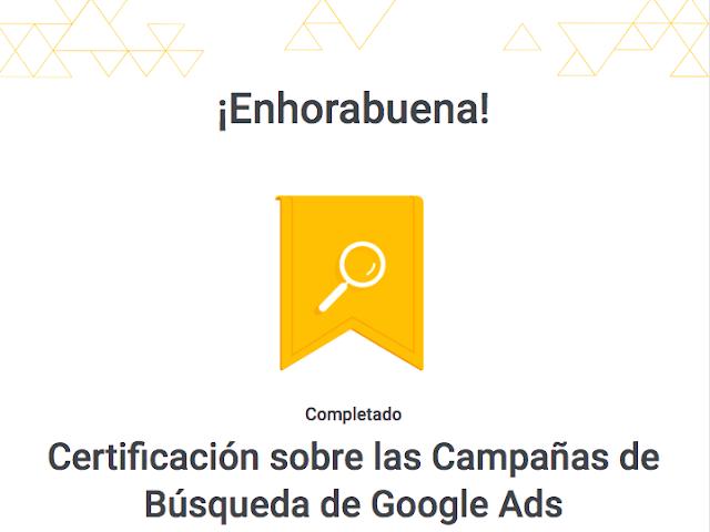 logo aprobado el examen de búsquedas de google ads