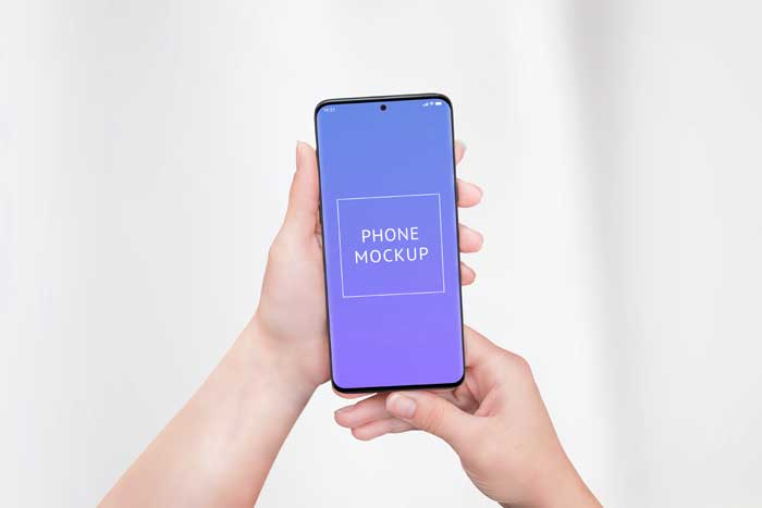 Phone Woman Hands PSD Mockup