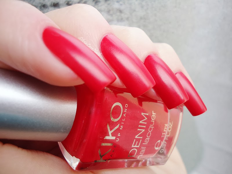 KIKO Boulevard Rock Denim Nail Lacquer Collection swatches: 461 Art Poppy Red