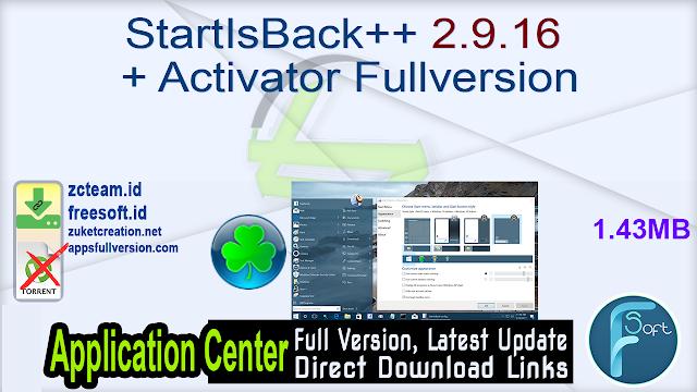 StartIsBack++ 2.9.16 + Activator Fullversion