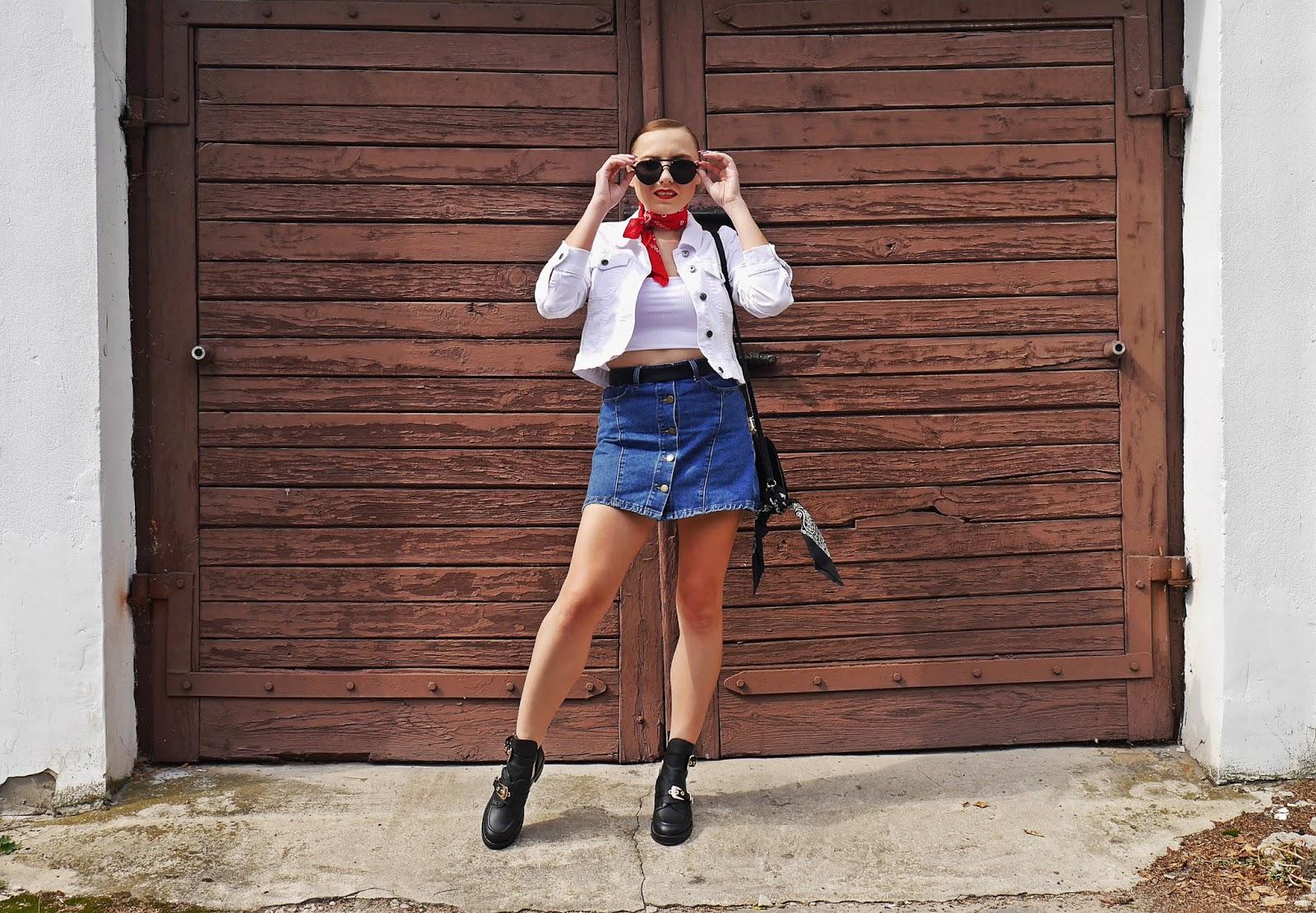 kurtka biała bonprix spódnica jeansowa czerwona apaszka szminka golden rose karyn blog modowy blogerka modowa stylizacja stylizacje 2019
