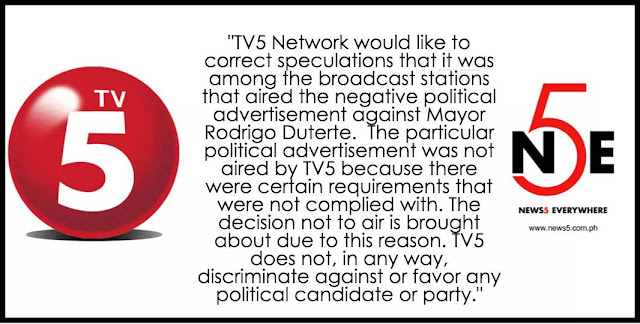 TV5 gains viewers' trust for not airing the Anti-Duterte ad.
