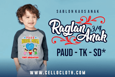 JUSTODAY !! Harga Bikin Kaos Raglan Anak Paud Anak TK Anak SD
