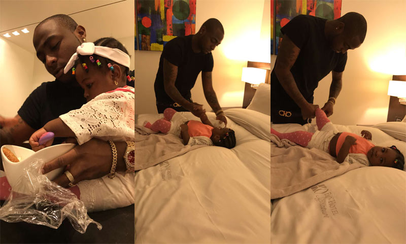 Aww! Doting dad Davido feeds his daughter, changes diapers
