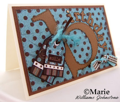 Blue and coffee brown handmade greeting card for a birthday