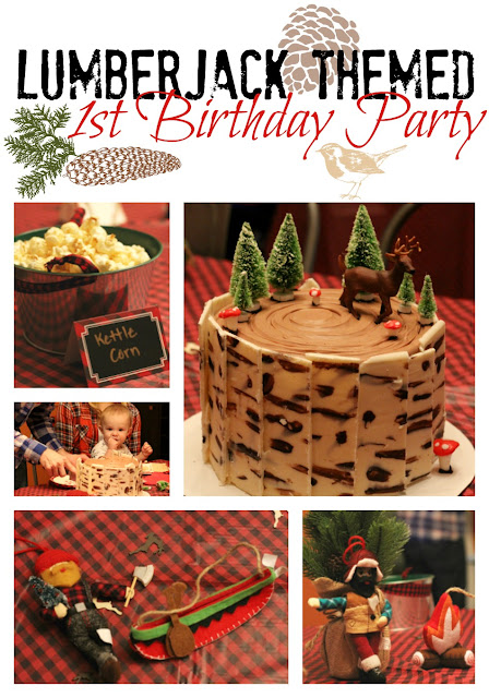 Lists all the details and has links to purchase items for a Lumberjack themed birthday party