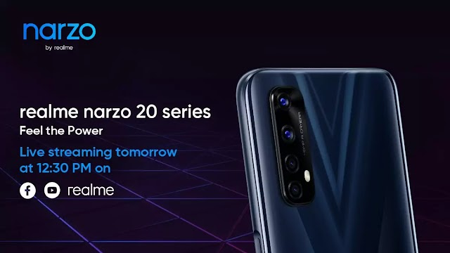 Realme Narzo 20 Pro, Narzo 20 and Narzo 20A launched in India tomorrow 12:30 PM.