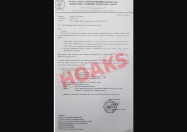 Surat Pemanggilan CPNS Dari Kemendikbud, Cek Faktanya