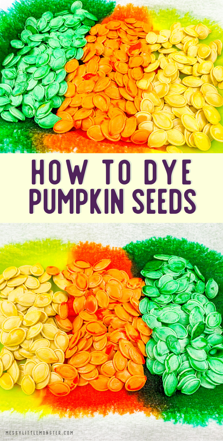 How to dye pumpkin seeds. Dyed pumpkin seed activities for kids.
