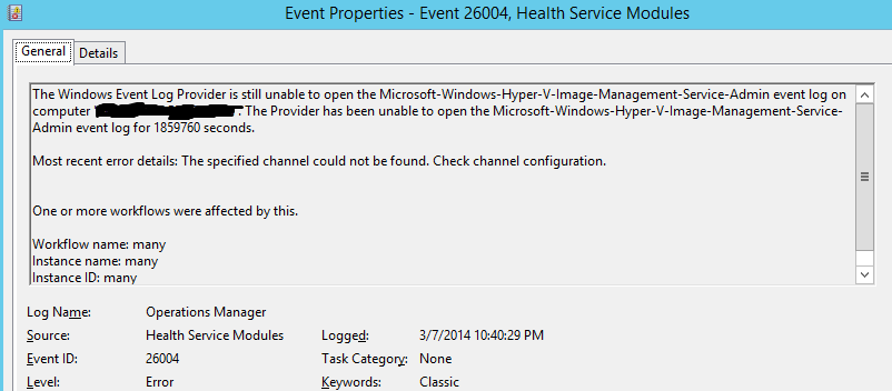 SCOM Event 26004, Health Services Module  Hyper-V Image Management