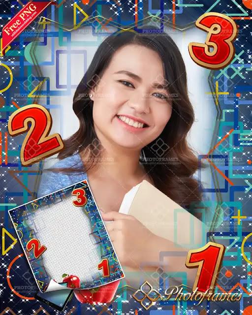 marco azul con signos matemáticos para el día del maestro