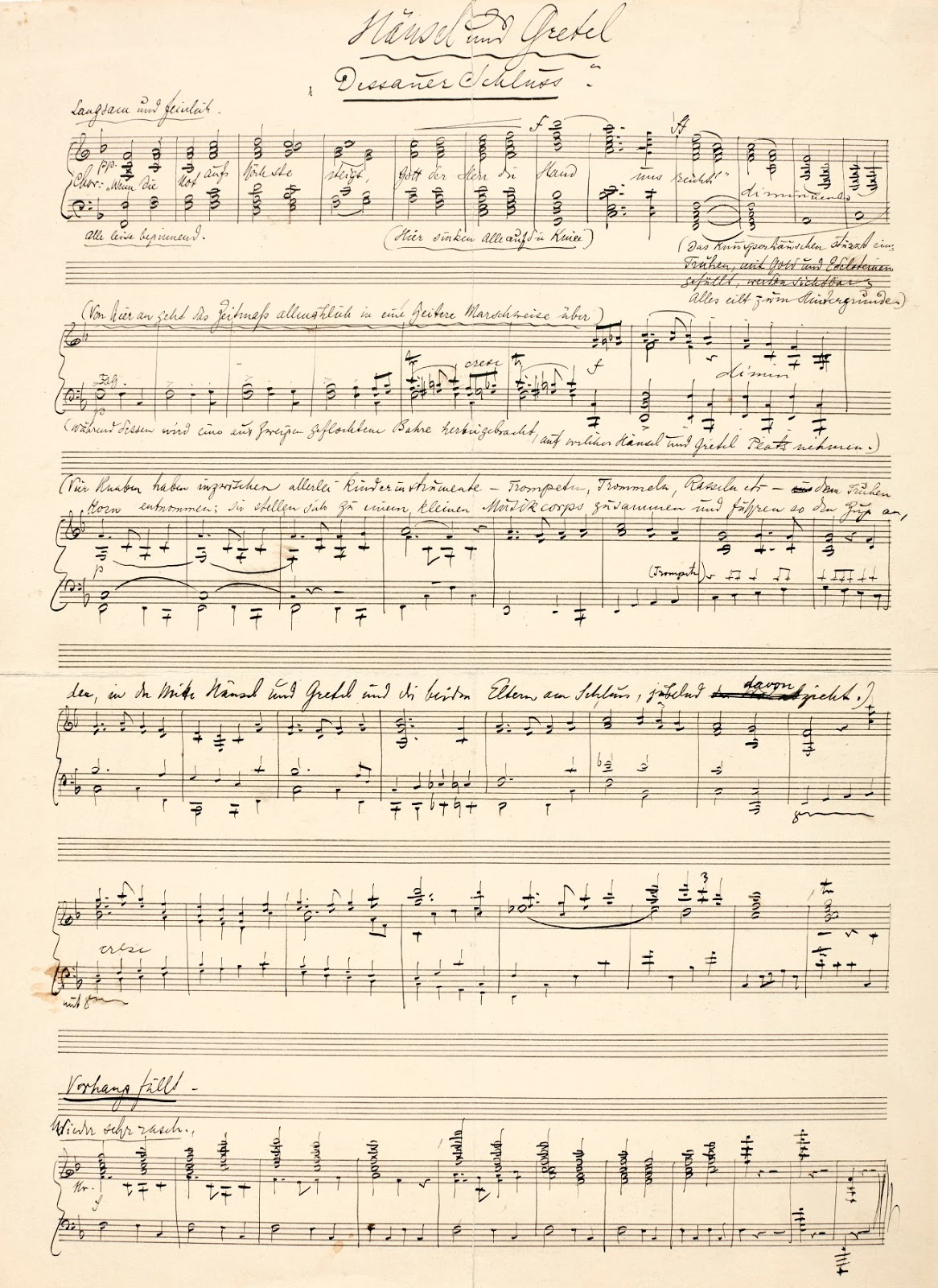 IN REVIEW: a page from Engelbert Humperdinck's autograph score of HÄNSEL UND GRETEL [Image from the Sotheby's collection]