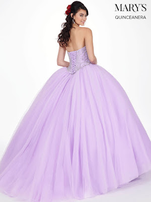 Mary's Quinceanera Ball Gown Design Lilac Color Dress back side