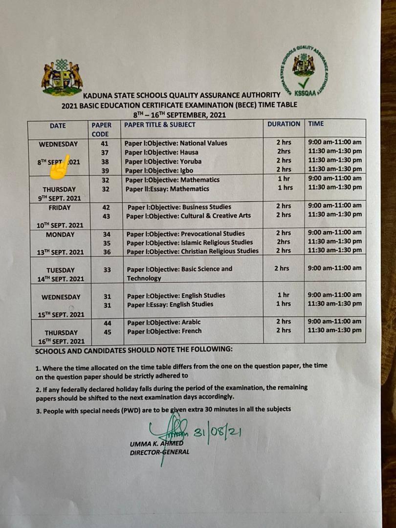 Kaduna State BECE Timetable [8th - 16th Sept. 2021]   JUNIOR WAEC
