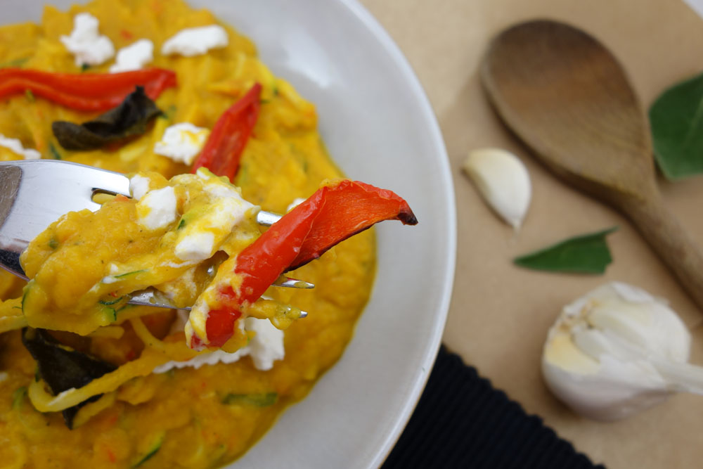Autumn Comfort Food   Butternut Squash, Sage and Red Pepper Courgetti