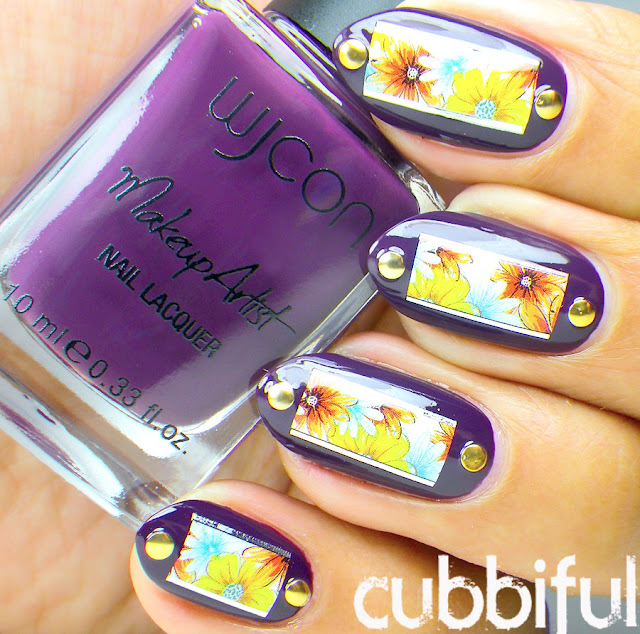Purple Nails and Floral Waterdecals