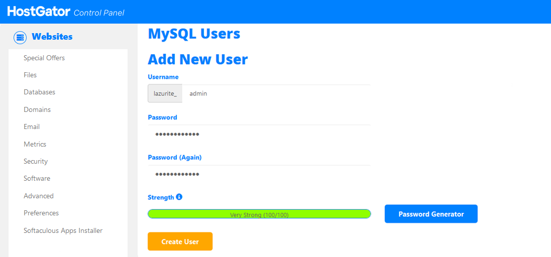 إنشاء مستخدم جديد لقاعدة البيانات MySQL