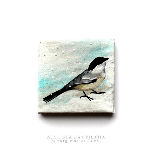 Wee winter bird, acrylic on canvas - Nichola Battilana