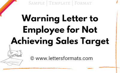 warning letter to employee for not achieving sales target
