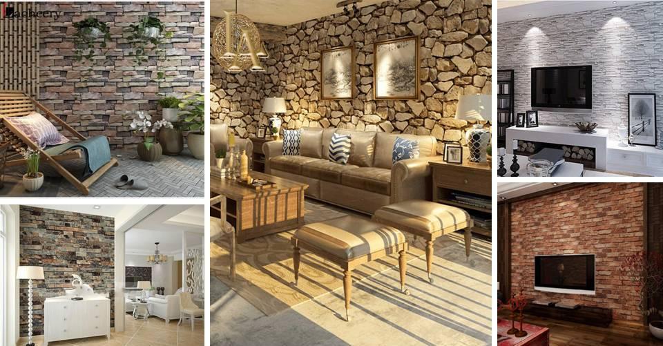 Modern 3d Wallpaper Brick Stone Decorating Ideas Face Idecor