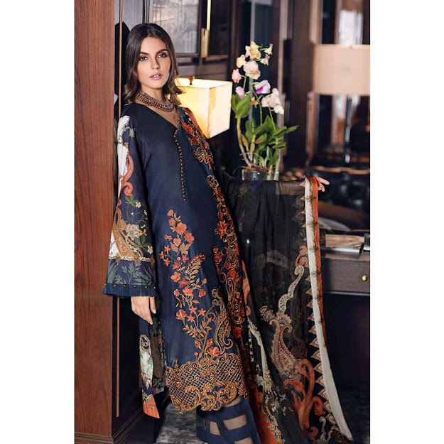 Gul Ahmed Mid summer collection navy blue color jacquard suit