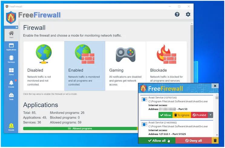 Evorim Free Firewall : Πλήρες, επαγγελματικό τείχος προστασίας για τα Windows