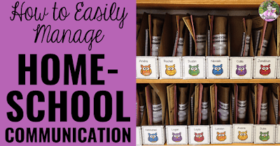 "Student mailboxes with text, ""How to easily manage home-school communication."""