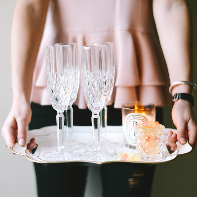 crystal champagne flutes and sugarfina champagne gummy bears