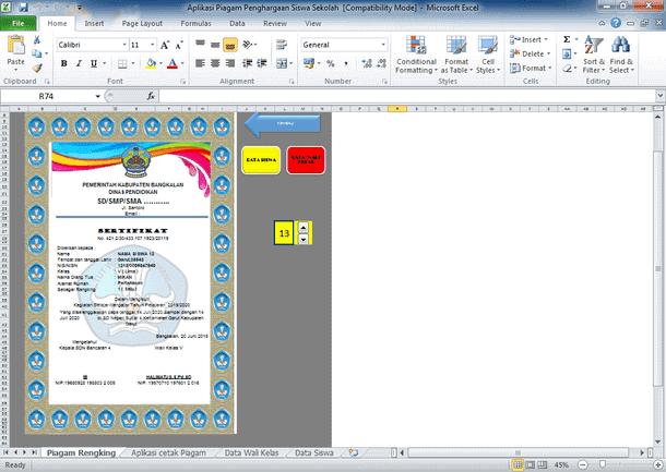 Aplikasi Cetak Sertifikat Piagam Penghargaan Siswa Sekolah Format Excel