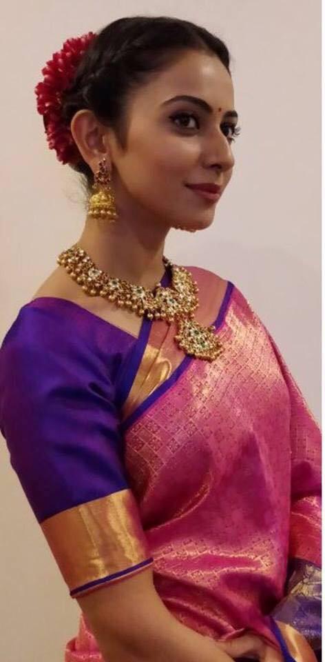 Rakul Preet Singh Latest Hot Stills In Traditional Red Saree