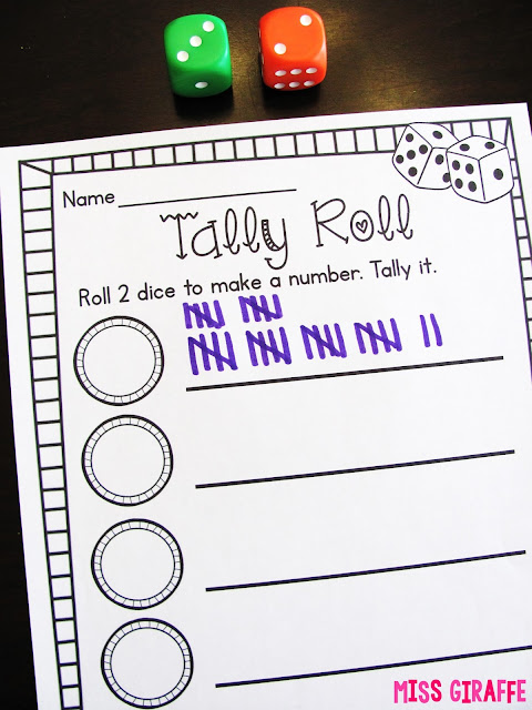 Super fun math center games to practice counting tallies
