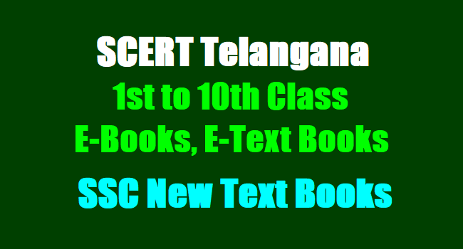E-Books, E-TextBooks, SCERT Telangana 1st class to 10th