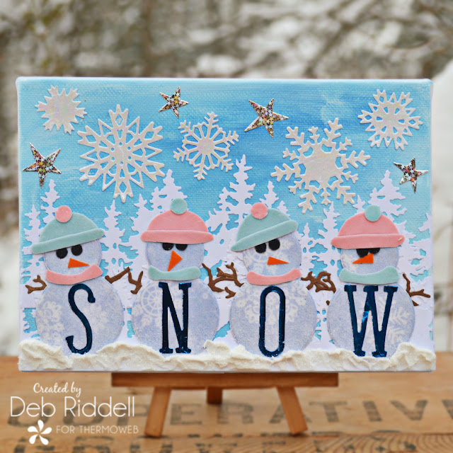 Snowy Snowpeople Mixed Media Canvas