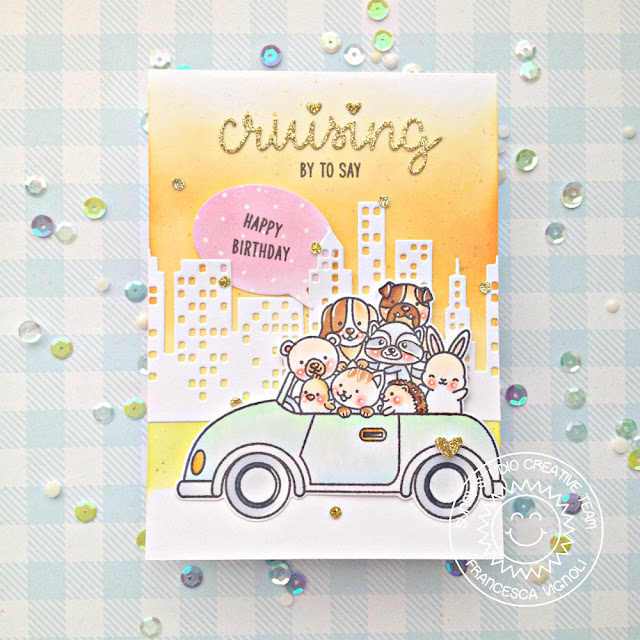 Sunny Studio Stamps: Cruising Critters & Cityscape Border Dies Critters in Car Birthday Card by Franci Vignoli