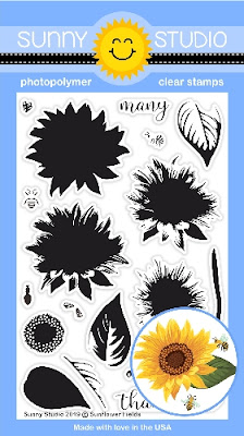 Sunny Studio: Sunflower Fields Fall Layered Flower 4x6 Clear Photopolymer Stamp Set