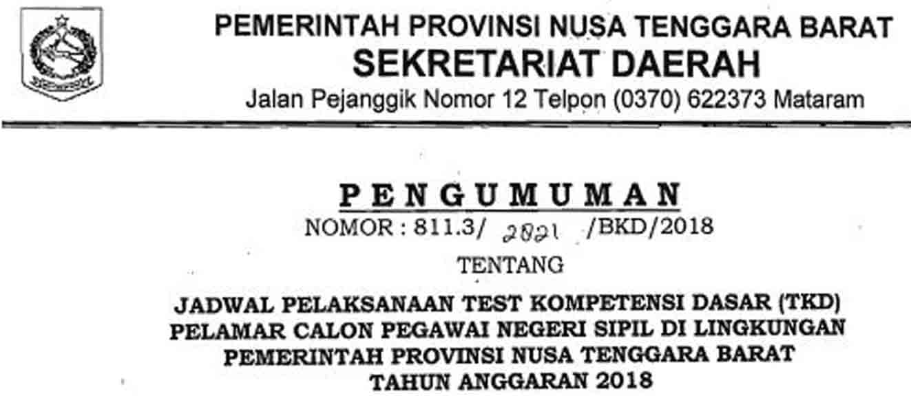 Jadwal Tes Seleksi Kompetensi Dasar Provinsi NTB
