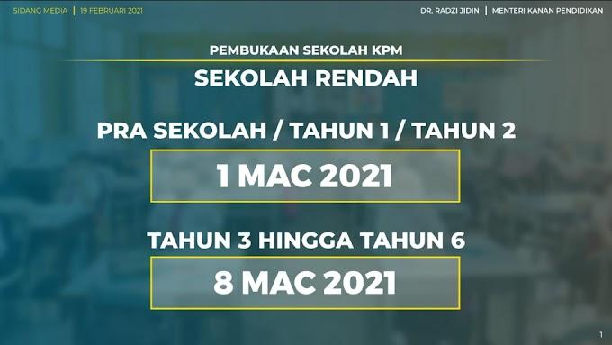 Tarikh Sekolah Dibuka Semula 2021