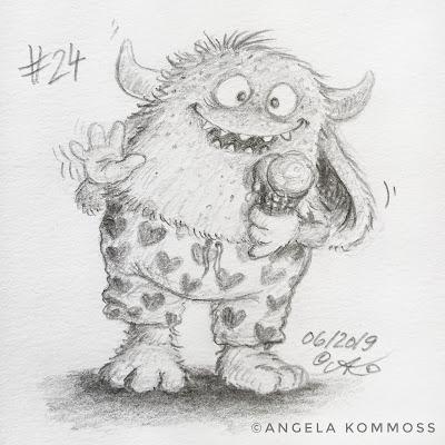 Monster, Bleistiftskizze, Cartoon, Illustration, Angela Kommoß