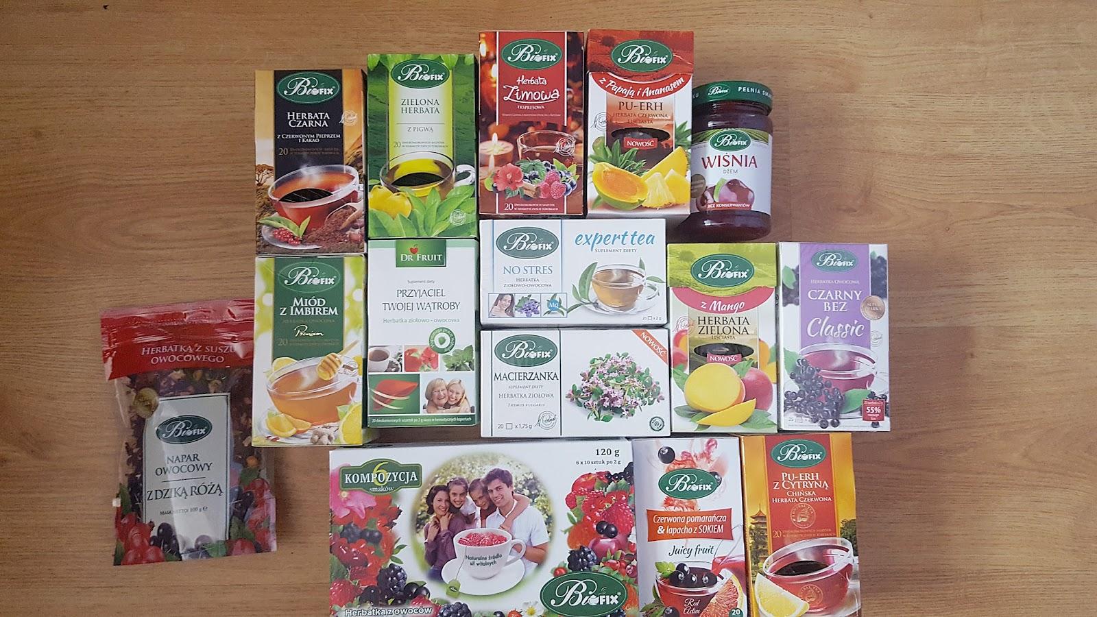 Herbatki ziołowe Bi fix oraz dżem wiśniowy niskosłodzony :)