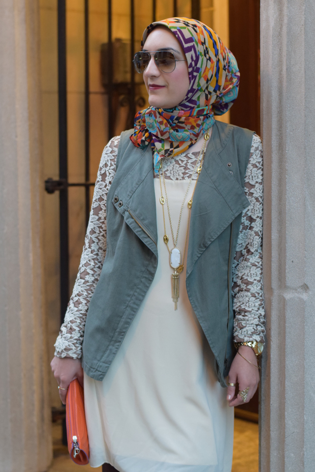 A Day In The Lalz; Fashion Blog; Modesty; Lace Top; Modest Lily; Fall Style; Olive Vest; Hijabi