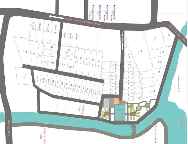 bản đồ phân lô khu nghỉ dưỡng Happy Garden Hồ Tràm , tại xã Phước Thuận , huyện Xuyên Mộc , tỉnh Bà Rịa Vũng Tàu . của cty thiên hải Group làm chủ đầu tư