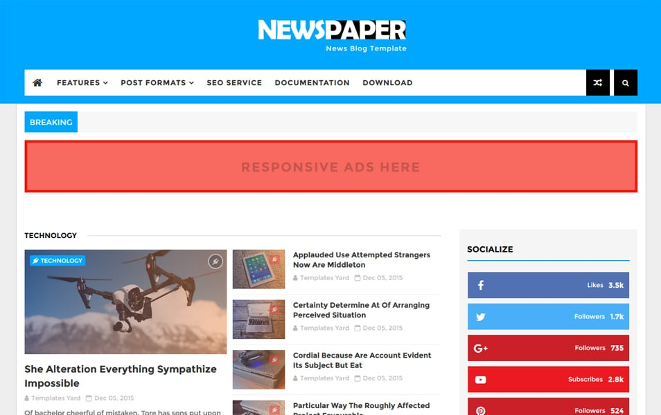 Newspaper News Blogger Template.jpg Responsive Blogger Template