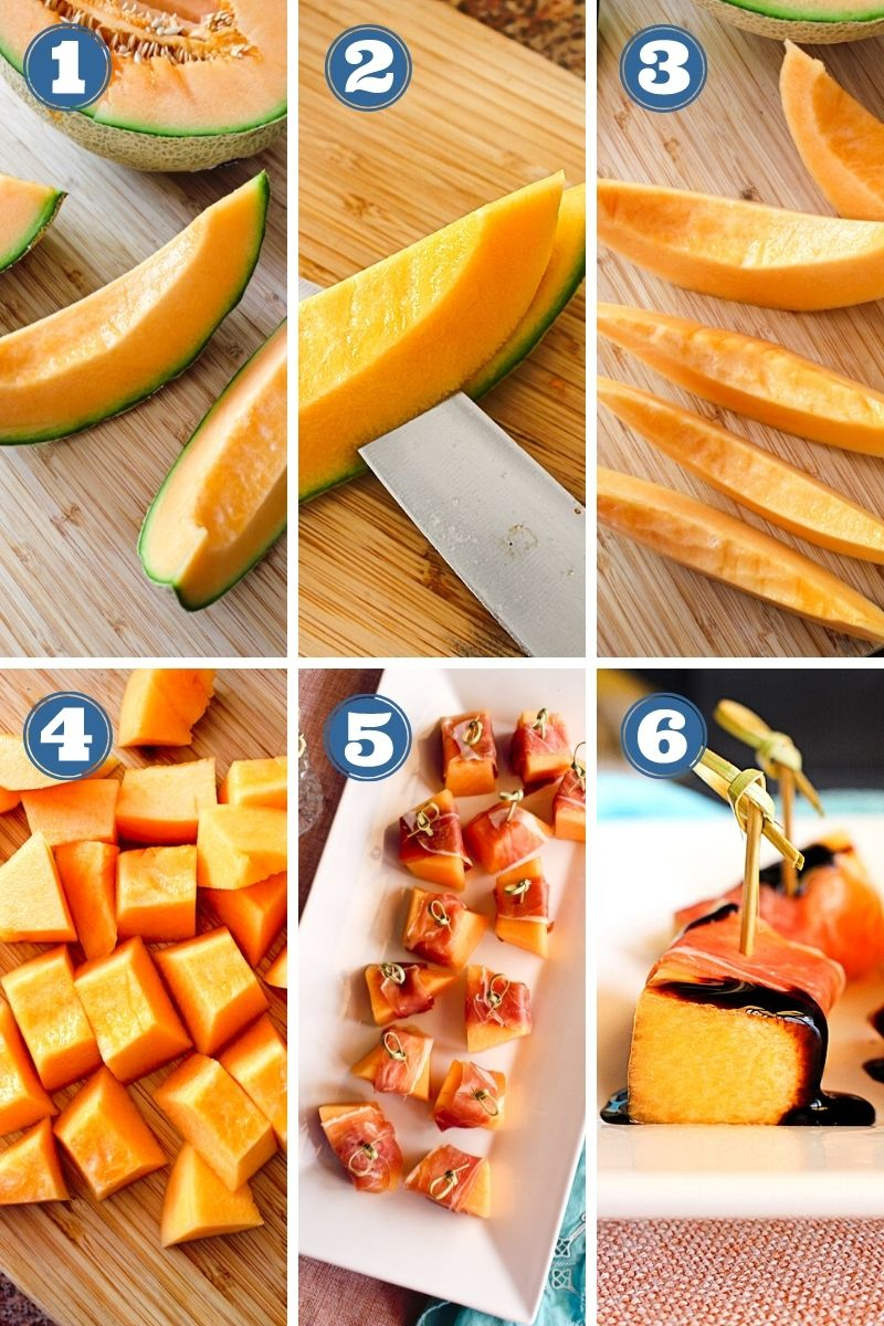 Step by step images of prosciutto wrapped cantaloupe being made.