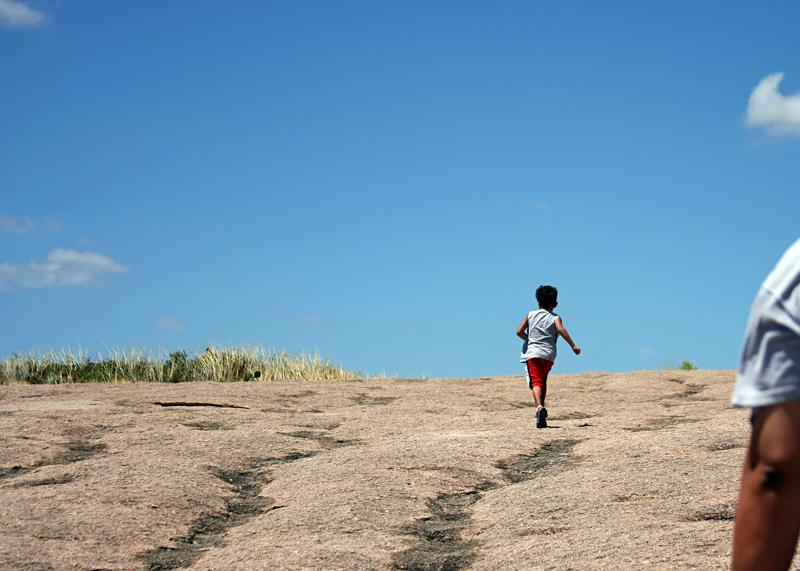 Running up Enchanted Rock