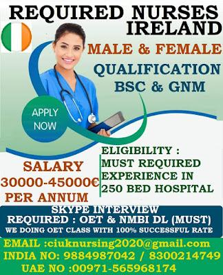 REQUIRED MALE & FEMALE  NURSES TO IRELAND
